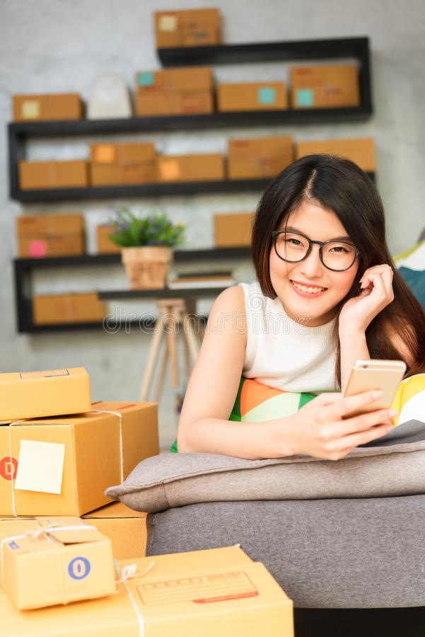Young asian woman entrepreneur, teenager business owner work at. Home, alpha generation life style, online business conceptual stock photography