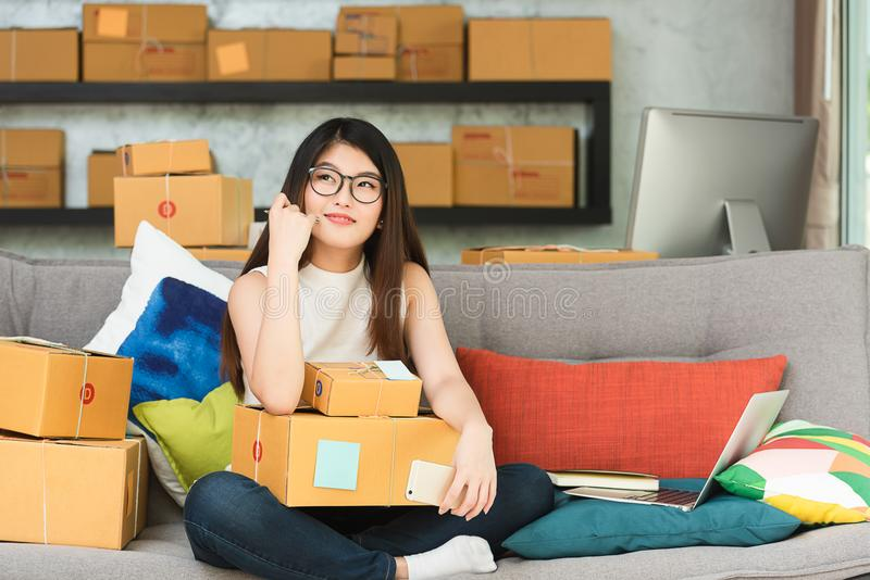 Young asian woman entrepreneur, teenager business owner work at. Home, alpha generation life style, online business conceptual stock images