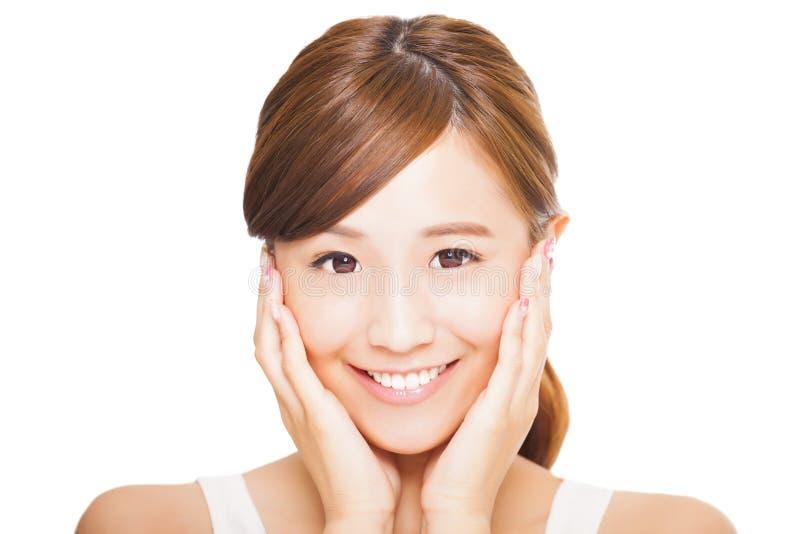 Young asian woman face stock photo