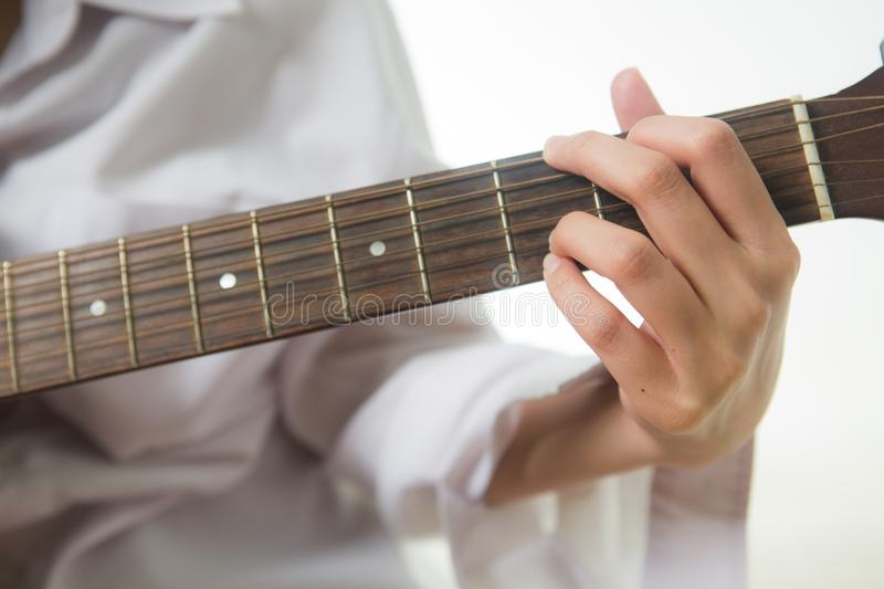 Asian Woman Hands Touching Guitar Chords Stock Image - Image of ...