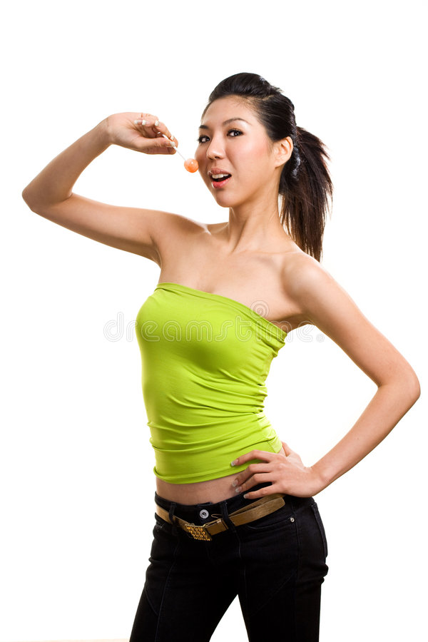 Free Young Asian Woman Having Fun With Lollipop Royalty Free Stock Photography - 6289477