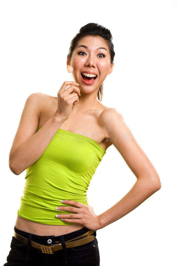 Free Young Asian Woman Having Fun With Lollipop Stock Photos - 6329093