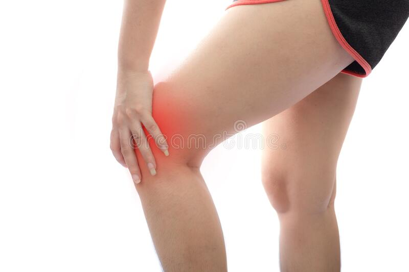 Young Asian woman with Knee pain at white background, Health problem discomfort concept stock image
