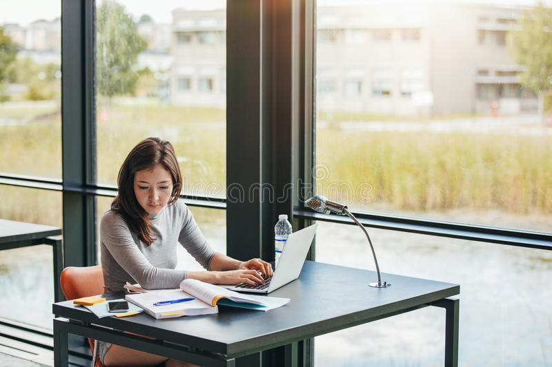 Young asian woman in library doing assignments stock photography