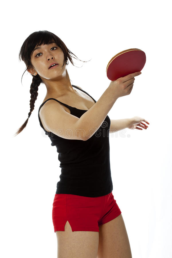 Young Asian Woman With A Ping-pong Racket Royalty Free Stock Photography