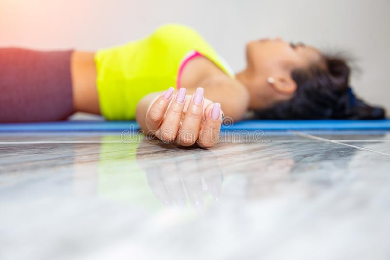 Young asian woman practicing in a yoga studio stock images