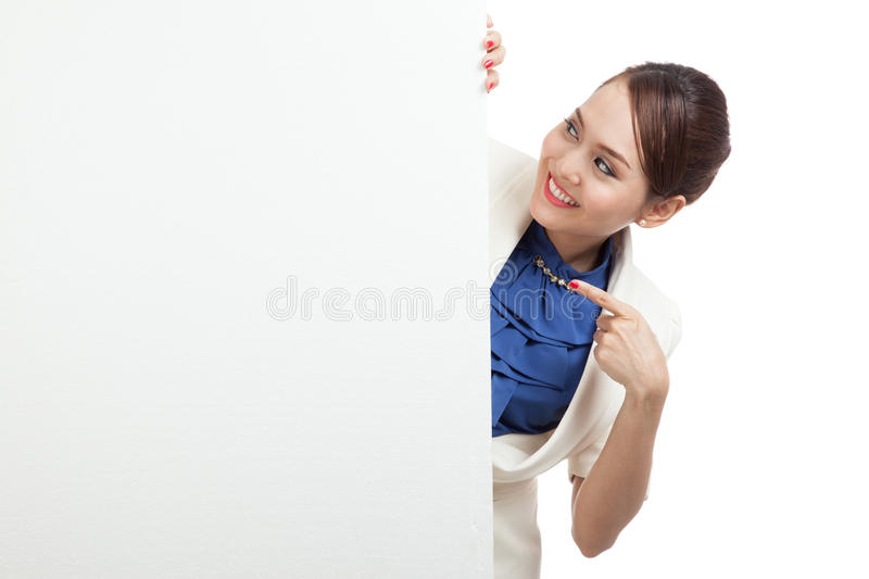 Young Asian woman show OK with blank sign royalty free stock photo