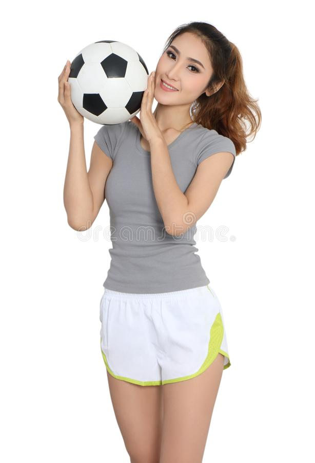 Football and woman stock images