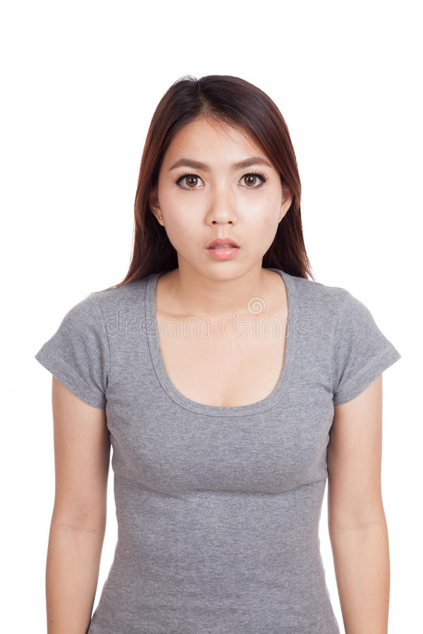 Young Asian woman stunned ,shock royalty free stock image