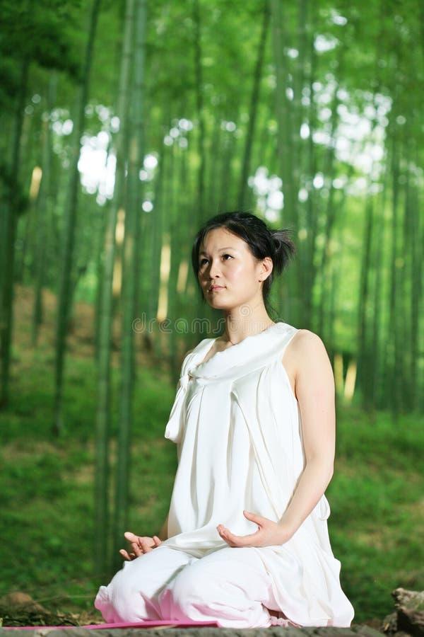 Young asian women doing YOGA stock photo