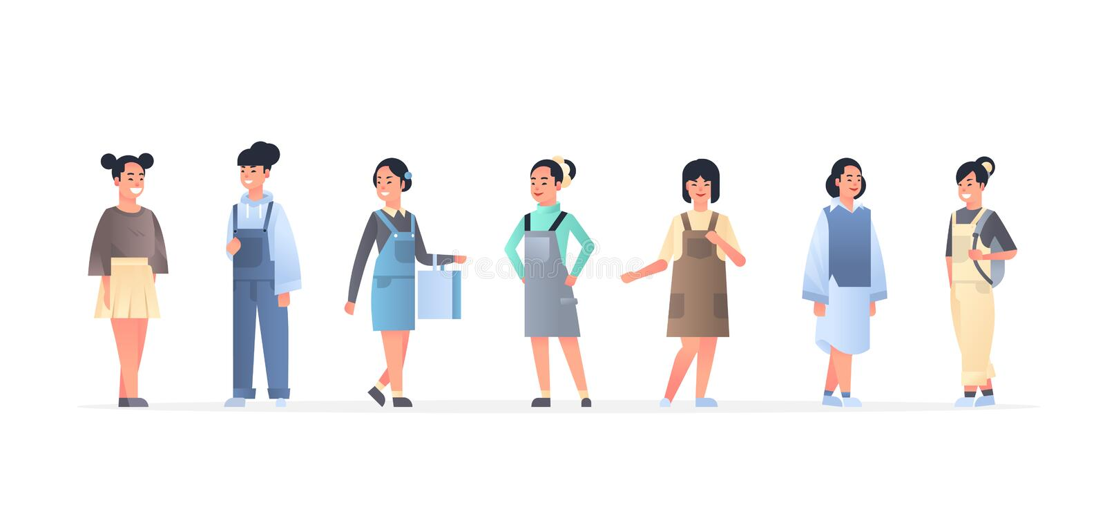Young asian women group wearing casual clothes happy attractive girls standing together chinese or japanese female. Cartoon characters full length flat stock illustration