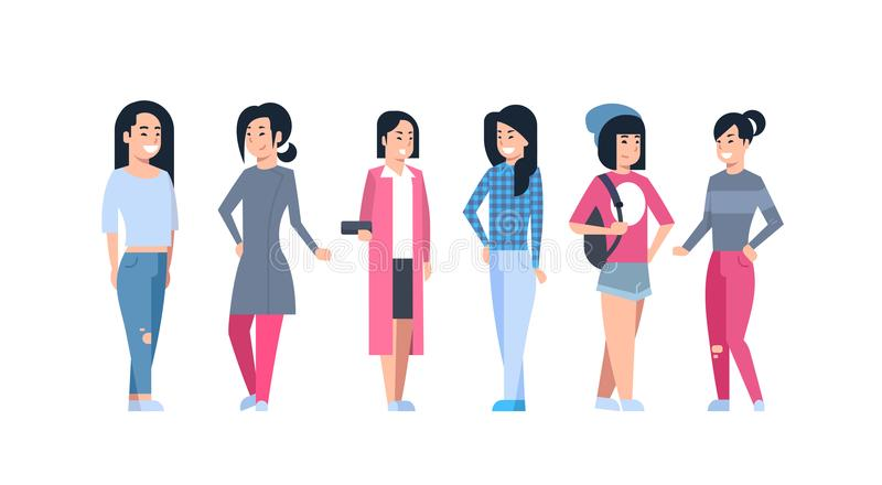 Young Asian Women Icons Set Chinese Or Japanese Female Group Wearing Modern Casual Clothes Full Length Isolated. Collection Vector Illustration stock illustration