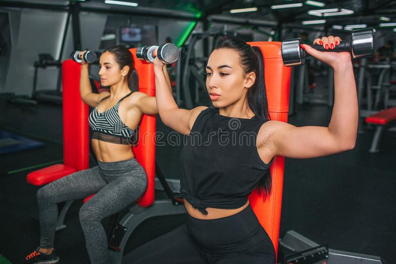 Young asian woman sit in front and doing dumbbell bench sitting. She exercise with her best friend. Models are serious royalty free stock photo