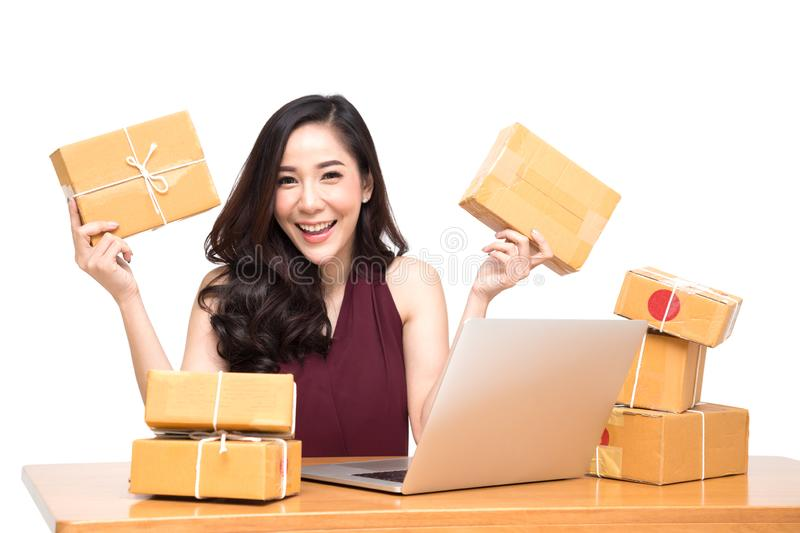Young asian women with startup small business entrepreneur freelance working at home royalty free stock images