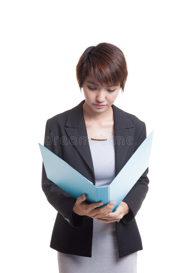 Young Asian working woman with folder. Young Asian working woman with folder isolated on white background royalty free stock images