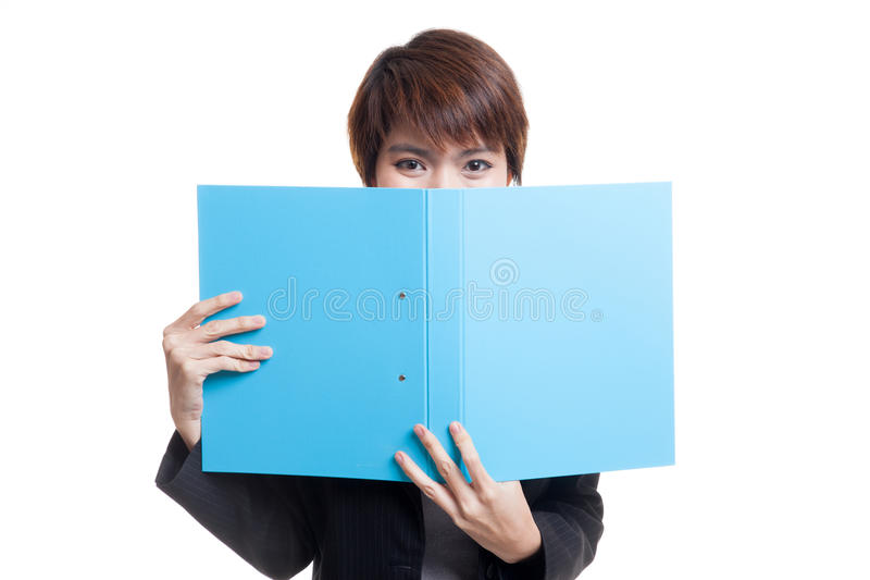 Young Asian working woman with folder. Young Asian working woman with folder isolated on white background stock images