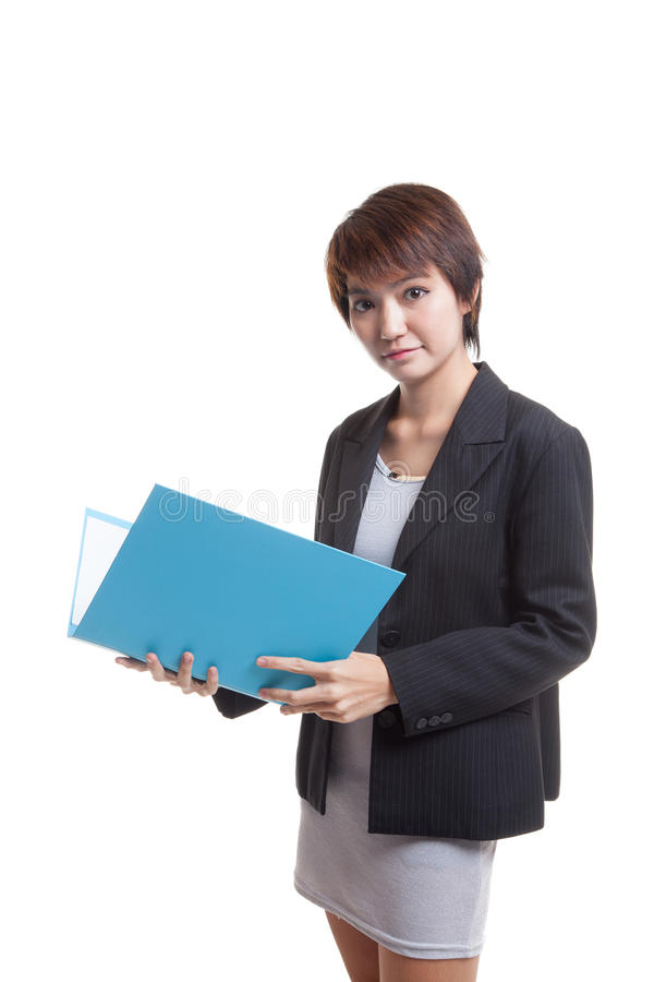 Young Asian working woman with folder. Young Asian working woman with folder isolated on white background royalty free stock photos