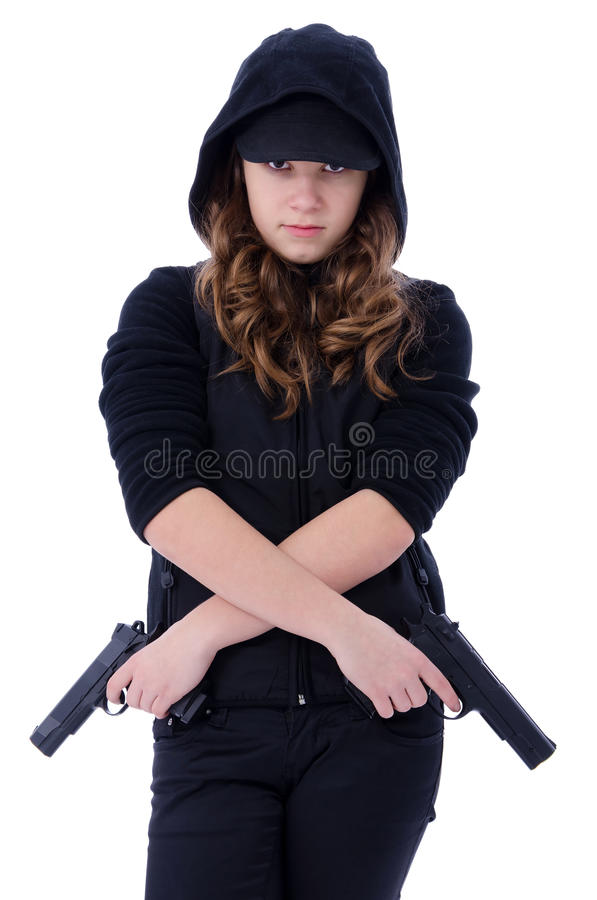 Young Assassin Girl Stock Image