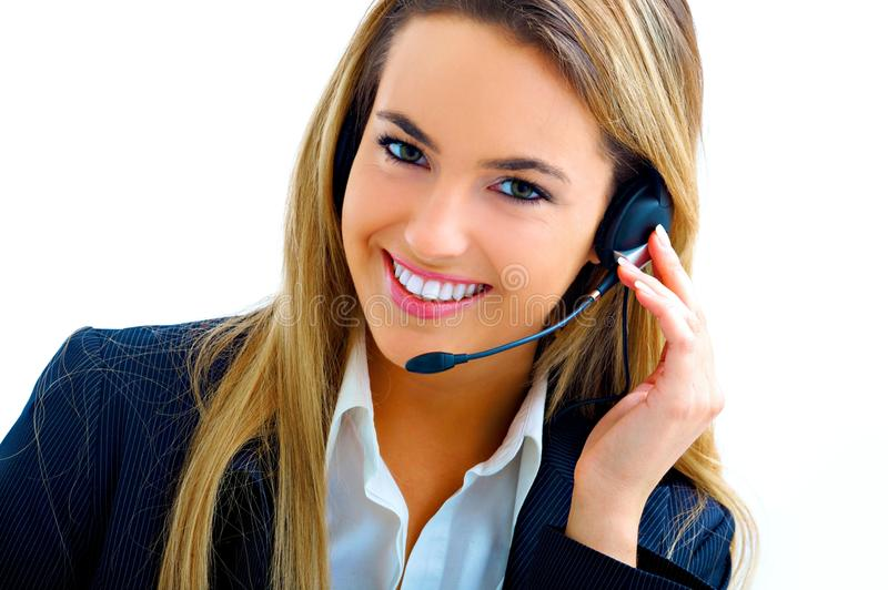 Young assistant on call center stock photos