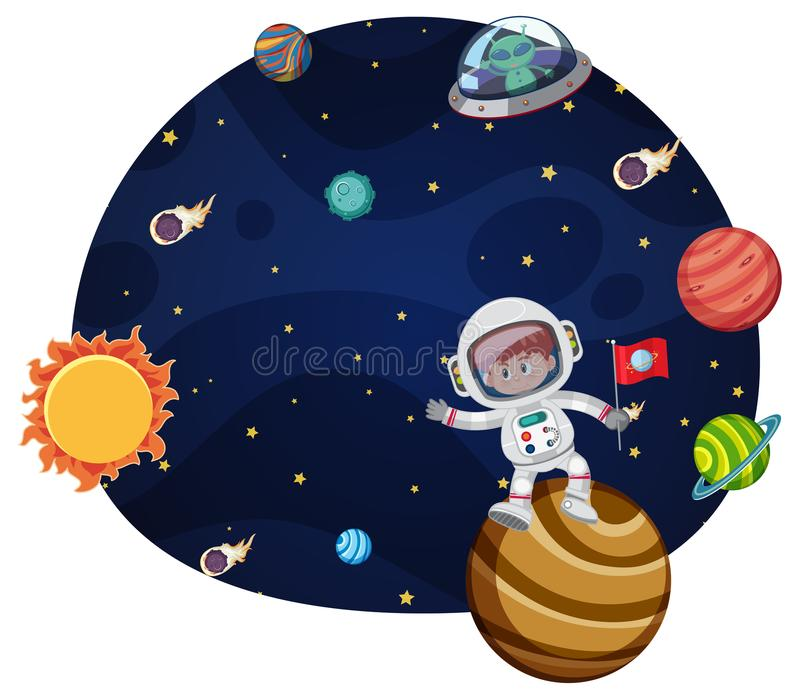 Young astronaut scene concept royalty free illustration