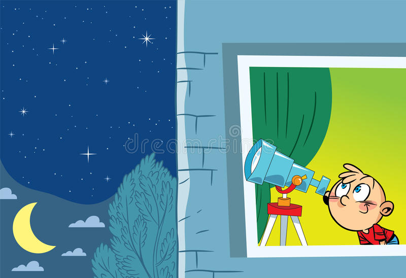 Young astronomer stock illustration