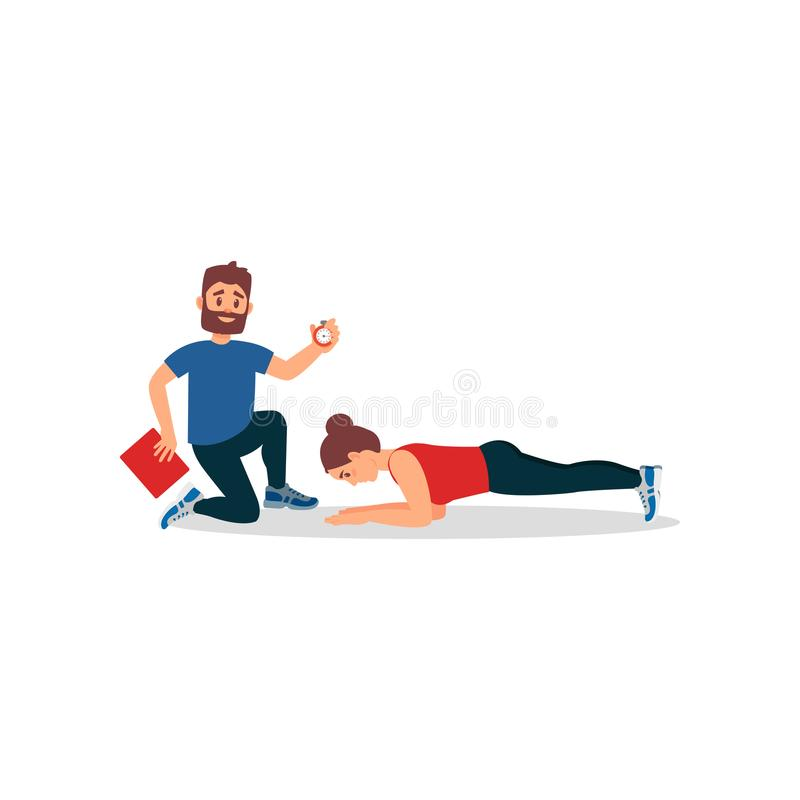 Young athlete girl doing plank exercise under control of personal trainer. Coach holding stopwatch and folder. Flat royalty free illustration