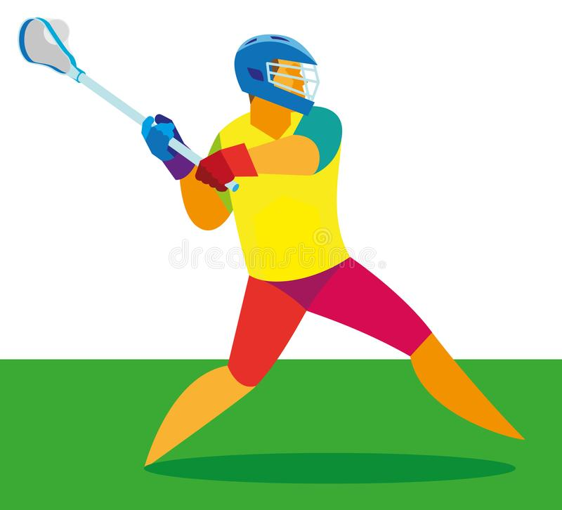 Young athlete is a player in lacrosse take throw stock illustration
