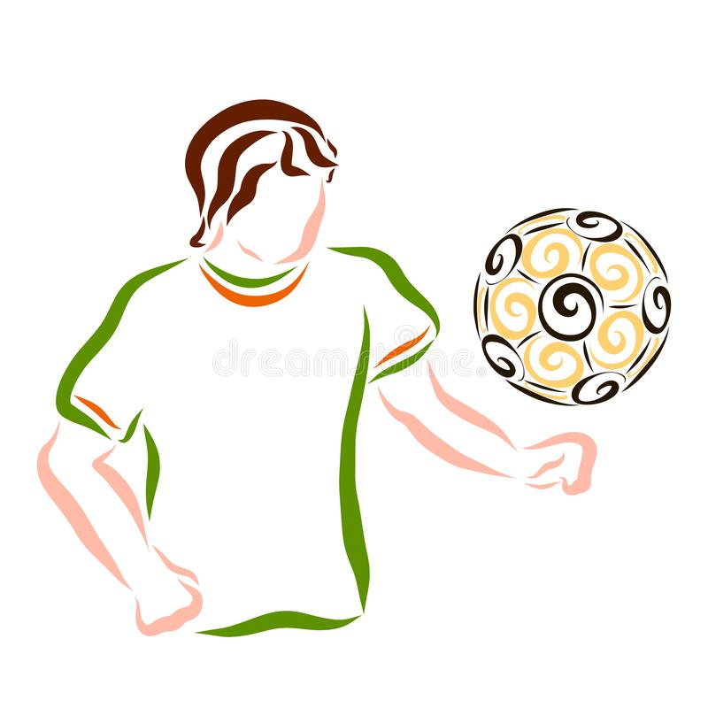 Young athlete playing with a ball, sports stock illustration