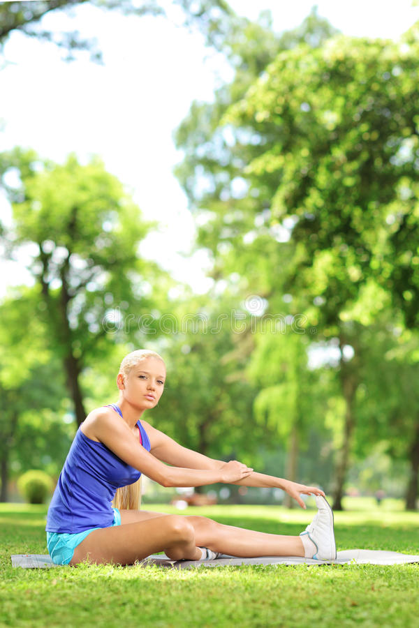 Download Young Athlete Woman Sitting On A Mat And Stretching In A Park Stock Image - Image: 31728631