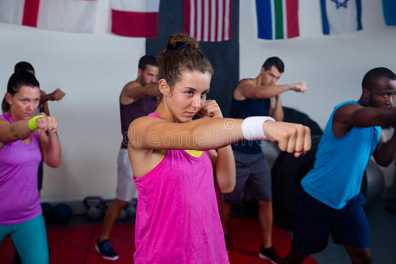 Young athletes practicing boxing royalty free stock image