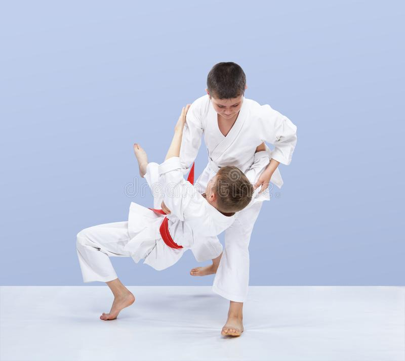 Young athletes train judo throws royalty free stock image