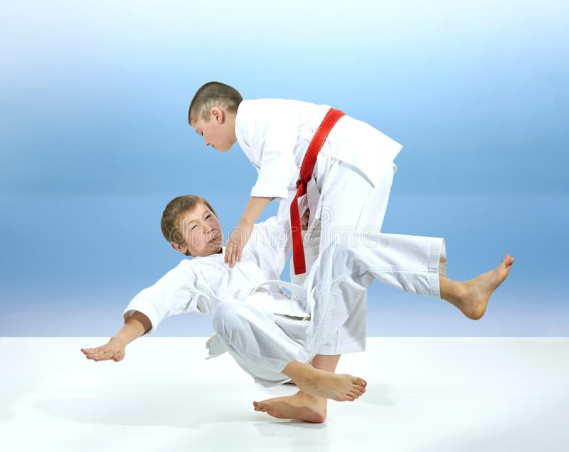 Two young athletes are training judo throws stock images