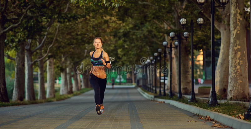 Young athletic girl runner jogging in park in summer autumn.  royalty free stock image