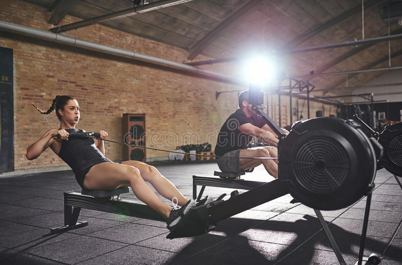 Young athletic sportive people on simulation training stock image