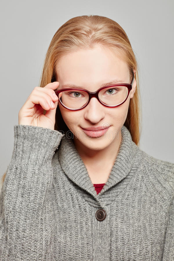 Young atractive woman with glasses royalty free stock image