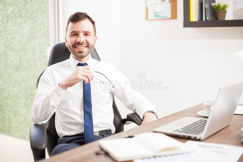 Young attorney working in his office stock photo