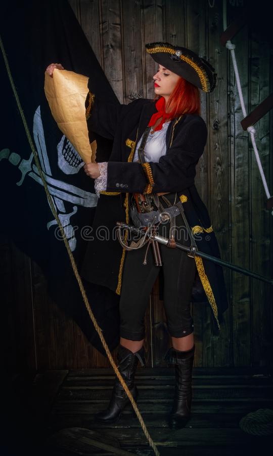 Girl Pirate Captain stock images