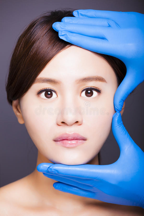Young attractive asian woman face stock images