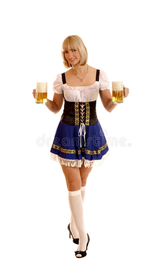 Young And Attractive Bavarian Woman With Beer Royalty Free Stock Images