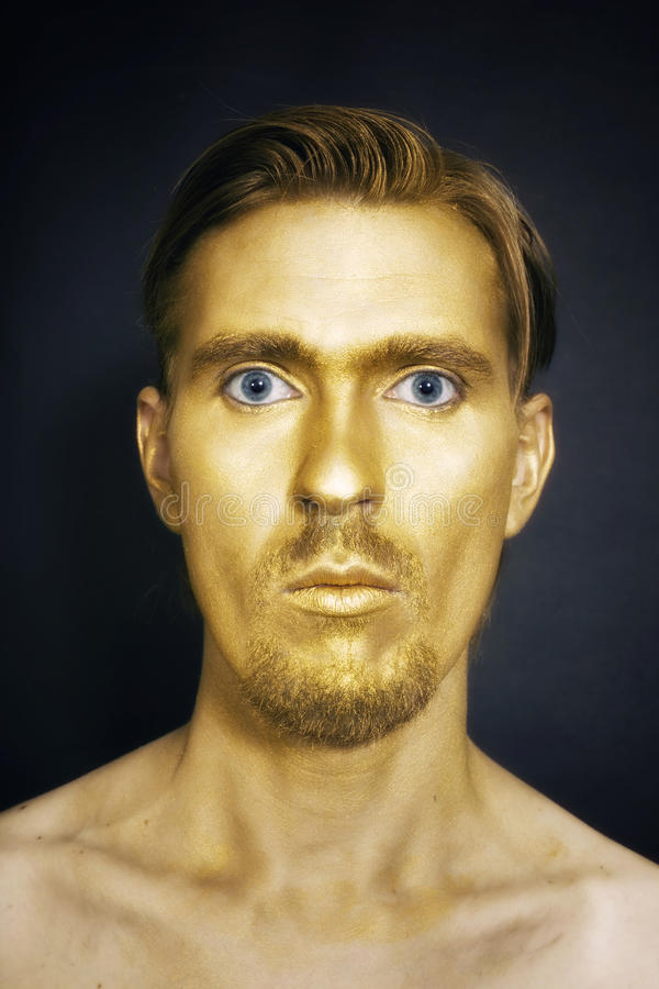 Download Young Attractive Blue-eyed Men With Gold Makeup Stock Image - Image: 18547133