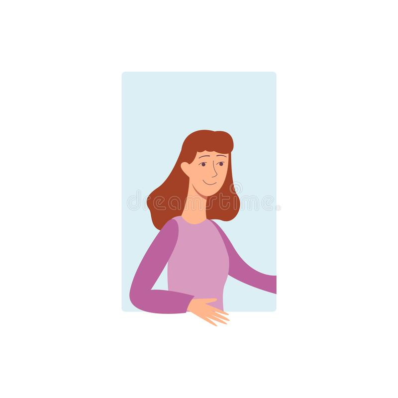 Young attractive brown haired woman looks out of the window from behind. vector illustration