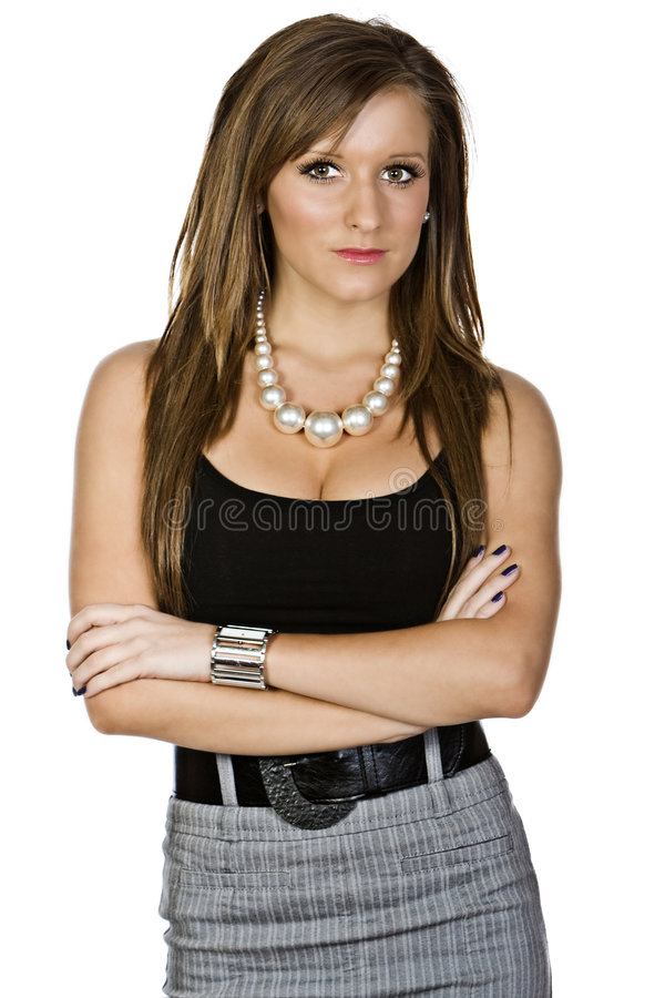 Young Attractive Brunette Girl. In Smart Office Attire stock photo