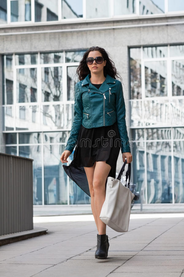 Young Attractive Brunette Woman Walking On Street City Life Stock Image