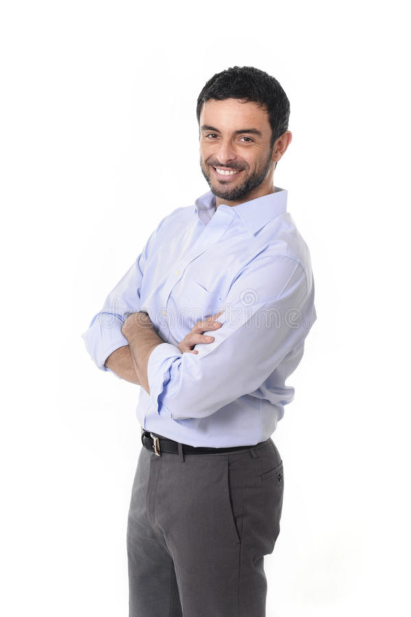 Young attractive business man standing in corporate portrait isolated on white background stock photography