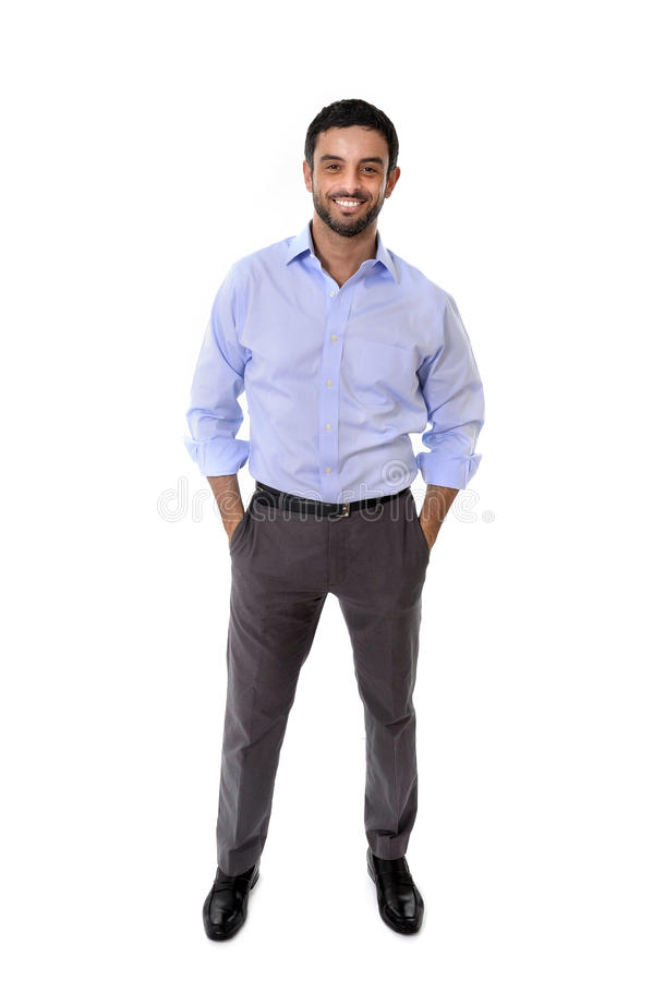 Young attractive business man standing in corporate portrait isolated on white background royalty free stock photography