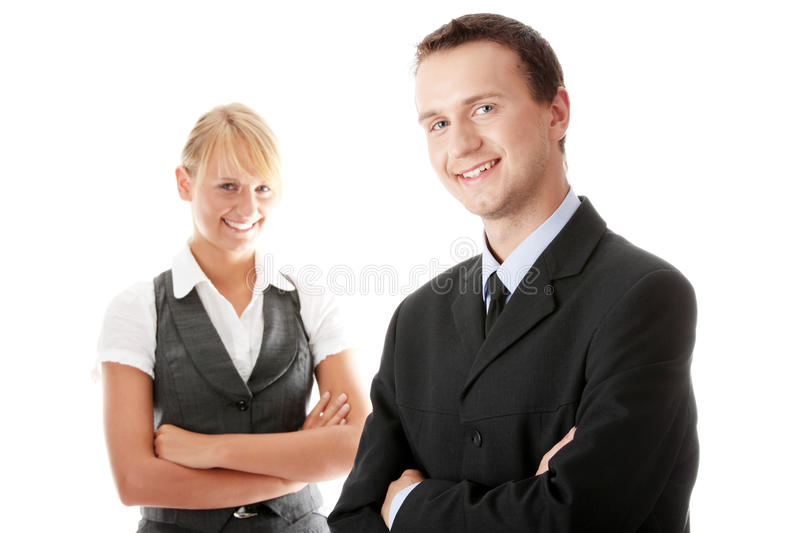 Young attractive business people. Isolated royalty free stock image