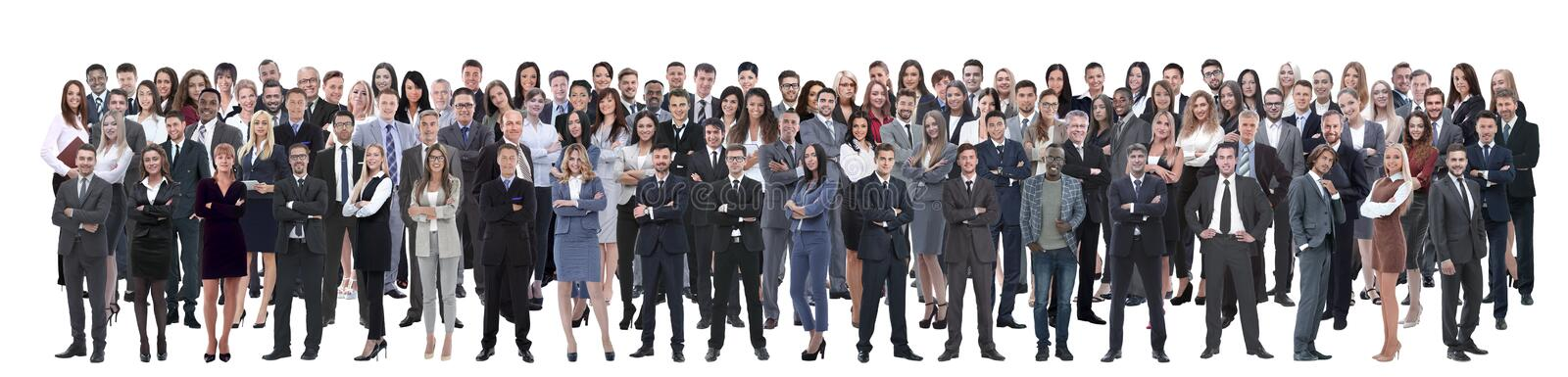 Business team formed of young businessmen and businesswomen standing over a white background. Young attractive business people - the elite business team stock images