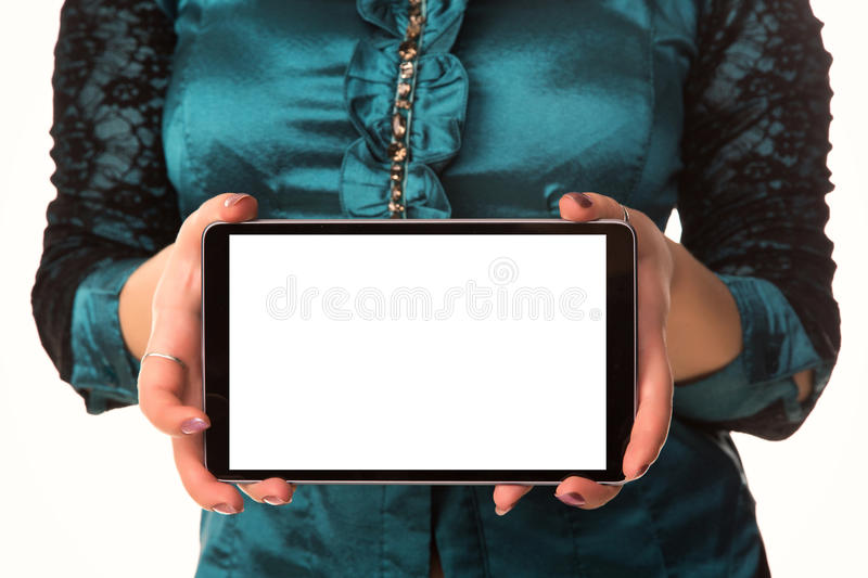 Young attractive business woman holding tablet PC with touch pad