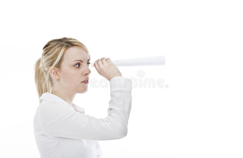 Young attractive business woman with spyglass royalty free stock photos