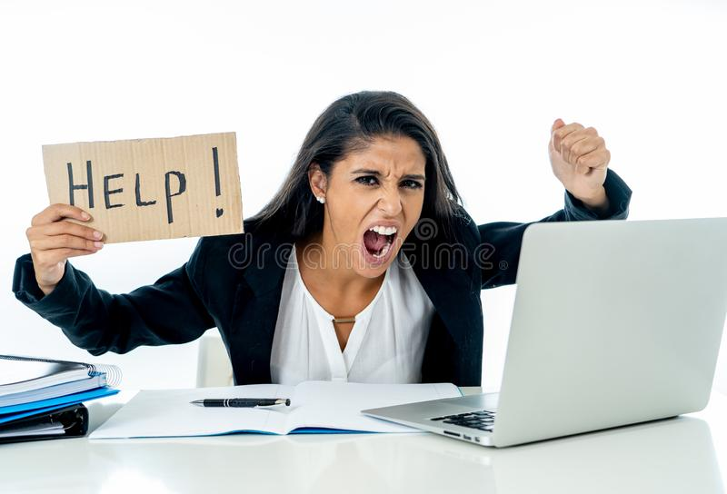Young beautiful businesswoman feeling stressed at work asking for help royalty free stock images